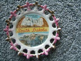 South Dakota Mt. Rushmore National Memorial Souvenir Plate Gold Trim Vin... - $49.19
