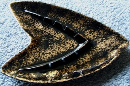 Shawnee Pottery Ashtray Mid Century Modern Large Gold Black Vintage USA 209 - $81.99