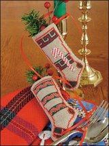 "Candy Canes & Garland Linen Stocking Ornament kit christmas 4.75"" tall cashel li - $6.30"