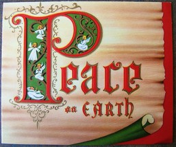 Peace On Earth Angels Embossed Christmas New Year Card Holiday Gold USA ... - $24.59