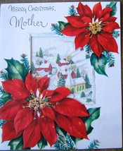 Merry Christmas Mother Red Poinsettia Frosted Window Card Art Guild USA ... - $24.59