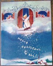 Brownie Angel Sweeping Snow Merry Christmas To All Church Card 926 USA V... - $24.59