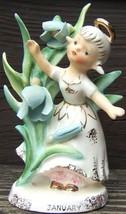 Vintage LEFTON JANUARY Angel Figurine GOLD TRIM... - $147.59