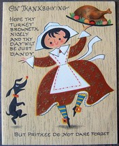 Thanksgiving Card Vintage Embossed American Greeting Pilgrim Lady Dog Tu... - $24.59