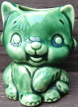 Cat Kitten Kitty Ceramic Toothpick Holder Green Vintage 1960s - $40.99