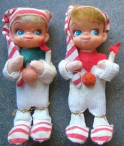 Vintage Christmas Felt Pixie Children Pajamas Slippers Stocking Hats Red... - $65.59