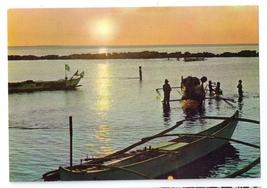 Philippines Fishermen's Boats Manila Bay Sunset Vintage 4X6 Postcard - $4.99