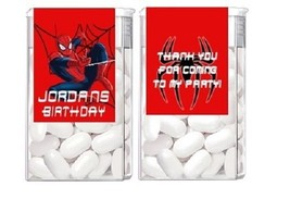 Spiderman Birthday Party Candy Mint Labels Favors Personalized Custom - $4.50