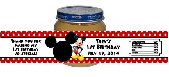 Mickey Mouse Baby Food Jar Birthday Party Labels Favors Personalized Custom for sale  USA