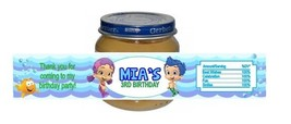 Bubble Guppies Baby Food Jar Birthday Party Labels Favors Personalized C... - $4.50