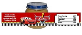 Cars McQueen Baby Food Jar Birthday Party Labels Favors Personalized Custom - $4.50
