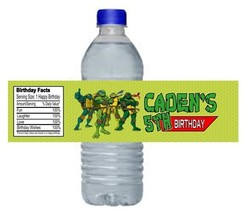 TMNT Ninja Turtles Birthday Party Water Bottle Labels Favors Personalize... - $4.50