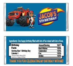 Blaze Monster Machines Birthday Party Candy Wrappers Favors Personalized... - $1.00