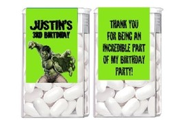 Hulk Birthday Party Candy Mint Labels Favors Personalized Custom - $4.50