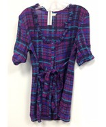 NEW NWT Anthropologie Tulle Retro Purple Stripe Tie Front Ruffled Sun Dr... - $20.00