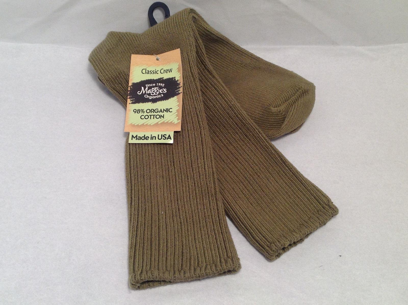 Maggie's Organics Classic Crew Socks 98% Organic Cotton Olive Army Drab Brown