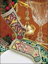 "Celebrate Linen Stocking Ornament kit christmas 4.75"" tall cashel linen - $6.30"