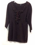NEW NWT Macy's Elementz Metallic Brown Ruffled Pull Over Sweater Sizes M... - $20.00