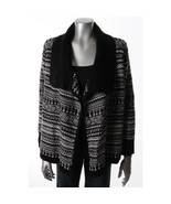 New Karen Scott Black White Fair Isle Open Cardigan Woman's Sweater Size M - $23.52