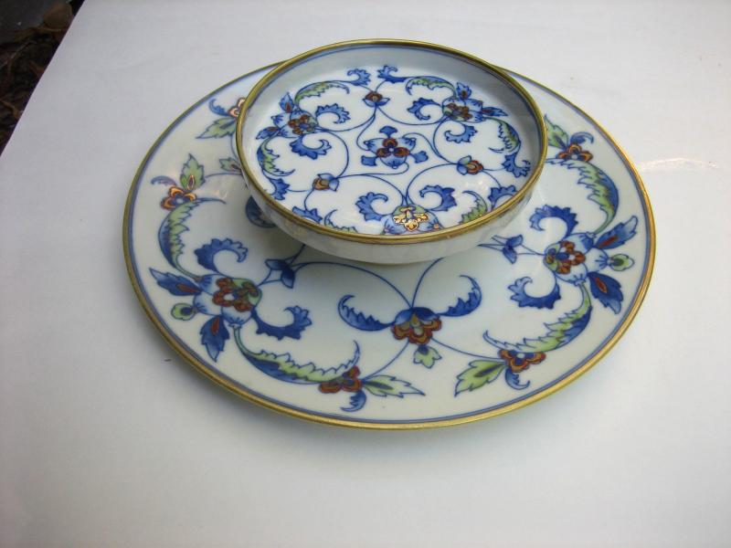 Vintage NIPPON 2-Tier Hand-painted Ceramic Lotus Design Dip u0026 Chip Server Dish - $225.00 & Nippon Dish: 8 listings