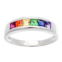 Genuine Sterling Silver Rainbow Baguette Cut Stone Gay Pride Ring Sizes ... - £17.95 GBP