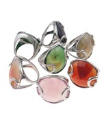 Wholesale Bulk Lot 6 Adjustable Silver Tone Agate Stone with Overlay Rings - $14.37