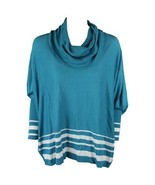 NEW NWT Macy's Fever Turquoise Blue White Stripe Long Sleeve Sweater Siz... - $19.60