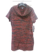 NEW NWT Macy's Elementz Metallic Red Black Cowl Neck Tunic Sweater Dress... - $20.00