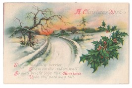Unsigned Clapsaddle Christmas Wish Poem Winter Road Scene Wolf Postcard ... - $4.99