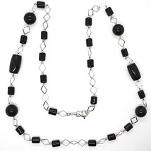 SILVER 925 NECKLACE, ONYX BLACK PIPE AND ROUND, LENGTH 31 1/2in, CHAIN RHOMBUSES image 2