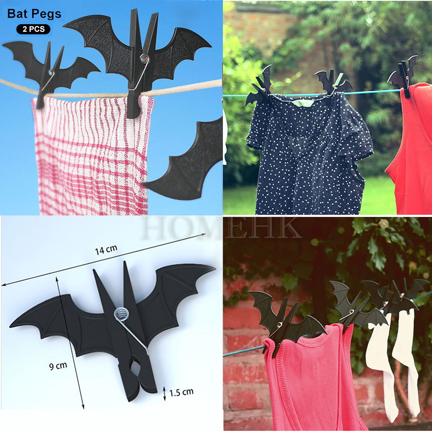 Bat Peg 2pcs Pack Vampire Wash Clothes line Laundry Hanger Bookmark Paper Clip