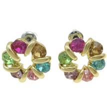 Wholesale Lot 6 Pair Colored Rhinestone Gold Pl... - $12.49