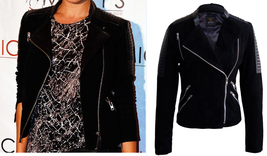 Kristina Karo Women Black Brando Suede Sleeve Shoulder Padded Leather Jacket - $179.99