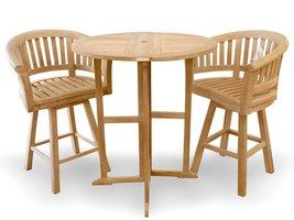 "Windsor's Genuine Grade A Teak 39"" Round Dropleaf Bar Table w/ Swivel Bar Chairs - $2,295.00"
