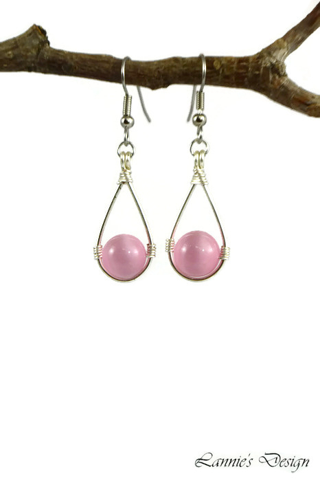 Light Pink Teardrop Wire Wrapped Dangling Earrings with Cat's Eye Beads
