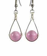 Light Pink Teardrop Wire Wrapped Dangling Earrings with Cat's Eye Beads - $14.90+