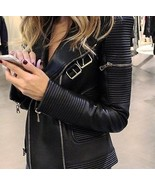 Leather Skin Women Black Brando Quilted Genuine Sheep Skin Leather Jacket - $179.99