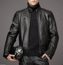 Leather Skin Men Black Authentic Cow Skin Biker Motorcycle Leather Jacket - $179.99