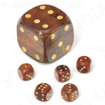 Handmade Wood Dice Box with 5 Dice Indian Wooden Cube Dice Box - $14.84