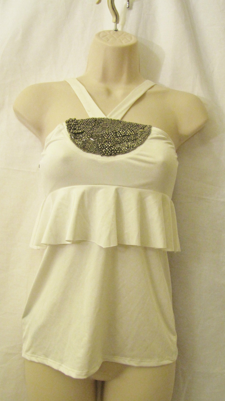 NEW BEBE EMRIPE RUFFLED CROSSBY EMBELLISHED FASHION TOP, SZ S SMALL,OFF WHITE