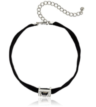 Kenneth Jay Lane Black Velvet Choker with Crystal and Jet Front Choker N... - $125.00