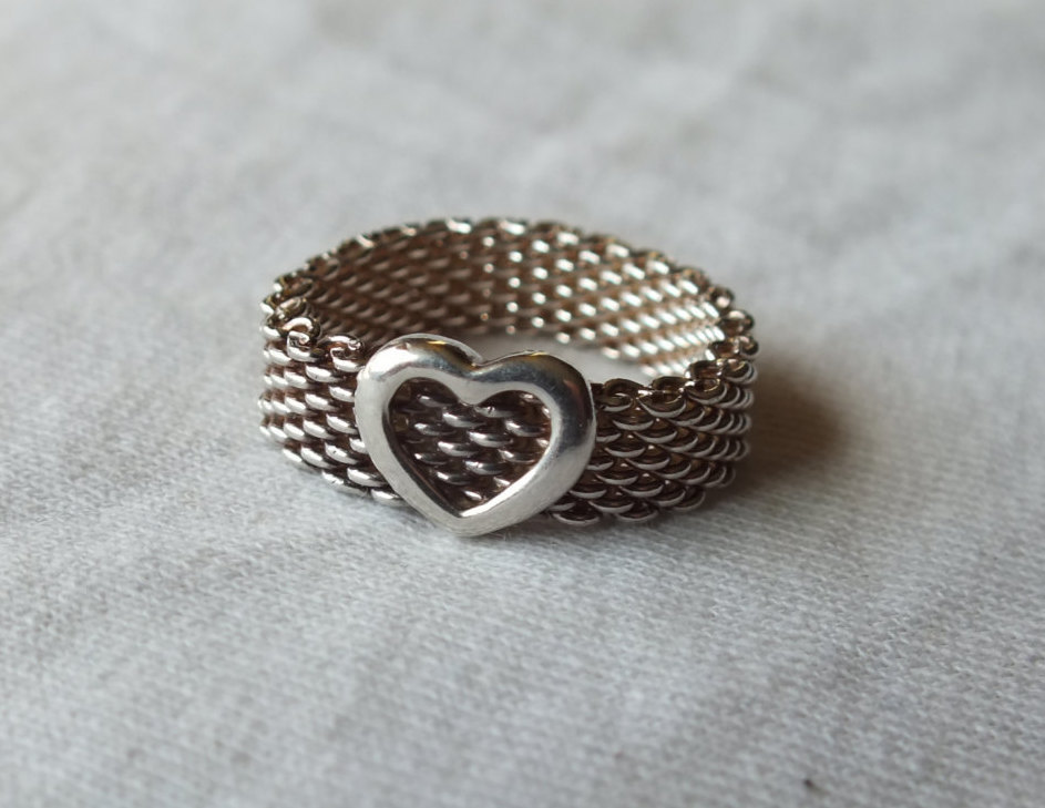 Tiffany Somerset Mesh Heart Ring in Sterling Silver Size 7 3/4 Beautiful Rare Vi