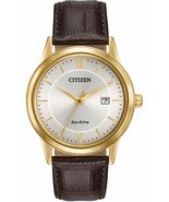 Citizen Eco Drive Men's Gold Tone Stainless Steel Leather Strap Watch AW... - £88.32 GBP