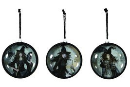 Nostalgic Style Black Magic Witch Woman Halloween Ornaments Fan Umbrella... - €9,96 EUR