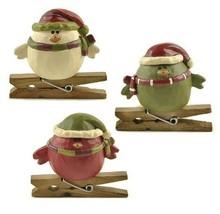 3 Asstd Festive Holiday Birds Sitting on Clothesline Pins Figurine Barba... - $20.95
