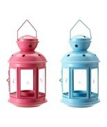 Pink Or Blue Stars Cutout Indoor Outdoor Hang Candle Lanterns - $12.95