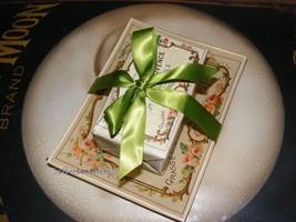 French Label Soap w/ Glass Tray - Jardin de Provenc Green Ribbon Vintage... - $21.95