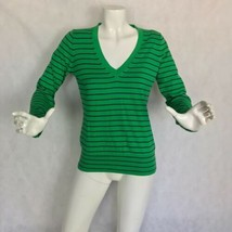 J Crew Sweater pullover V neck Cotton green navy blue size S - $26.99