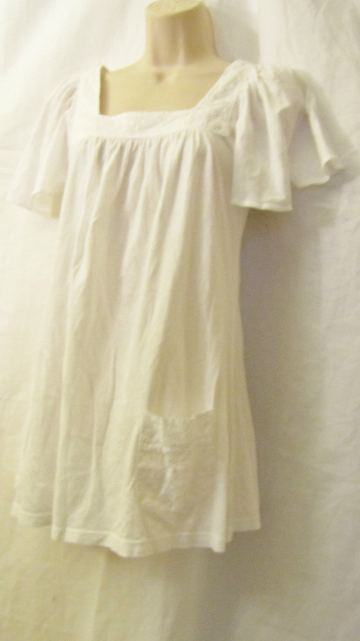NWT EMMA&SAM LF STORES KNIT COTTON FASHION PEASANT TOP DRESS,SZ XS X-SMALL,WHITE