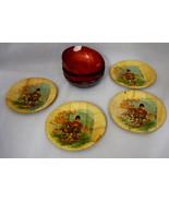 Vintage Set 4 Bamboo Asian Oriental Ladies Bamboo Coasters & 4 Philippin... - $19.95